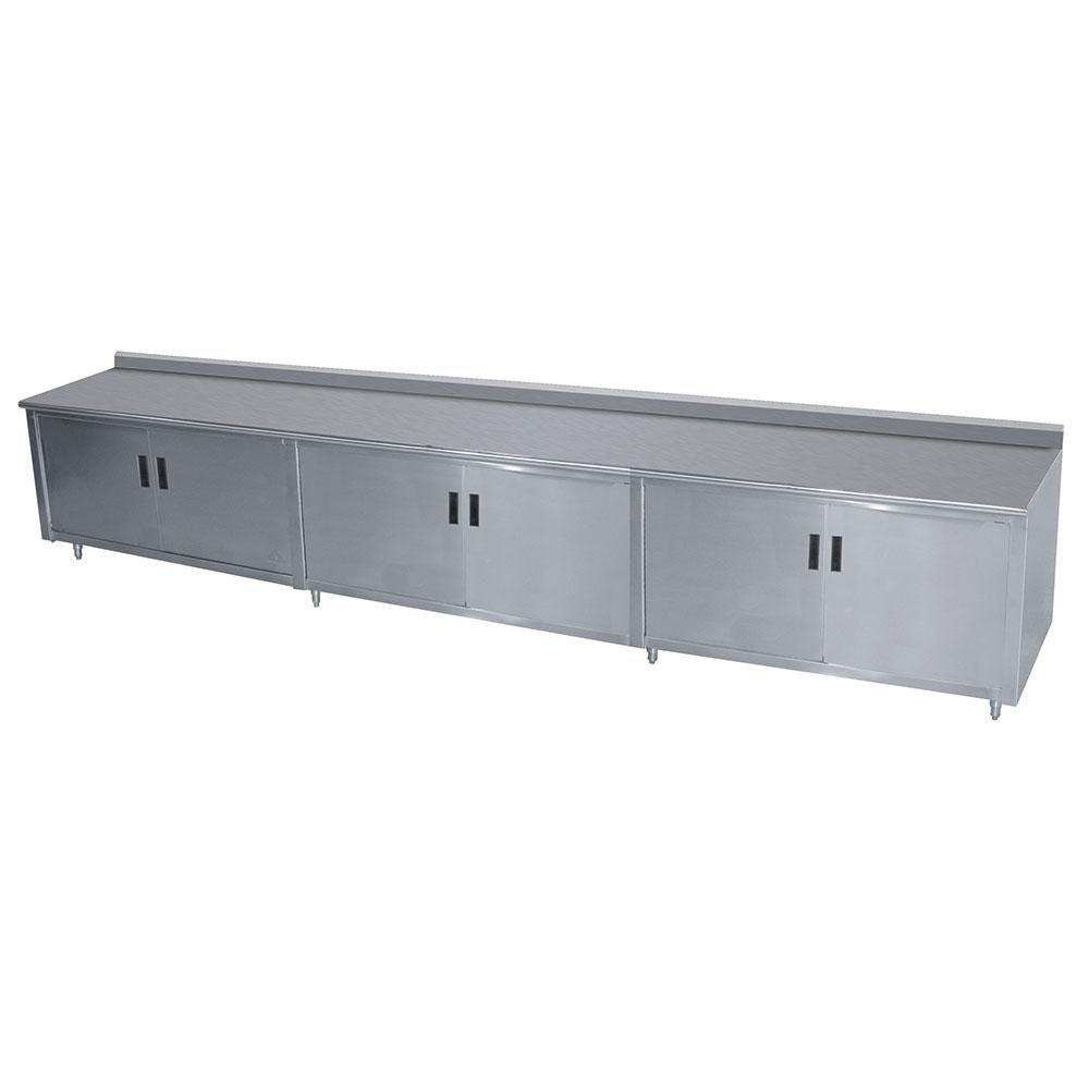 "Advance Tabco HF-SS-3012M 144"" Enclosed Work Table w/ Swing Doors & Midshelf, 1.5"" Backsplash, 30""D"