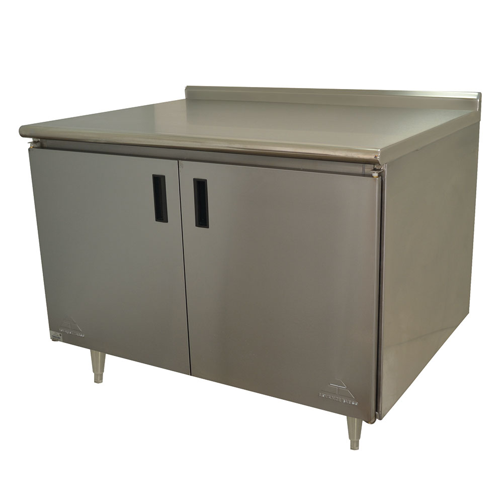 "Advance Tabco HF-SS-304M 48"" Enclosed Work Table w/ Swing Doors & Midshelf, 1.5"" Backsplash, 30""D"