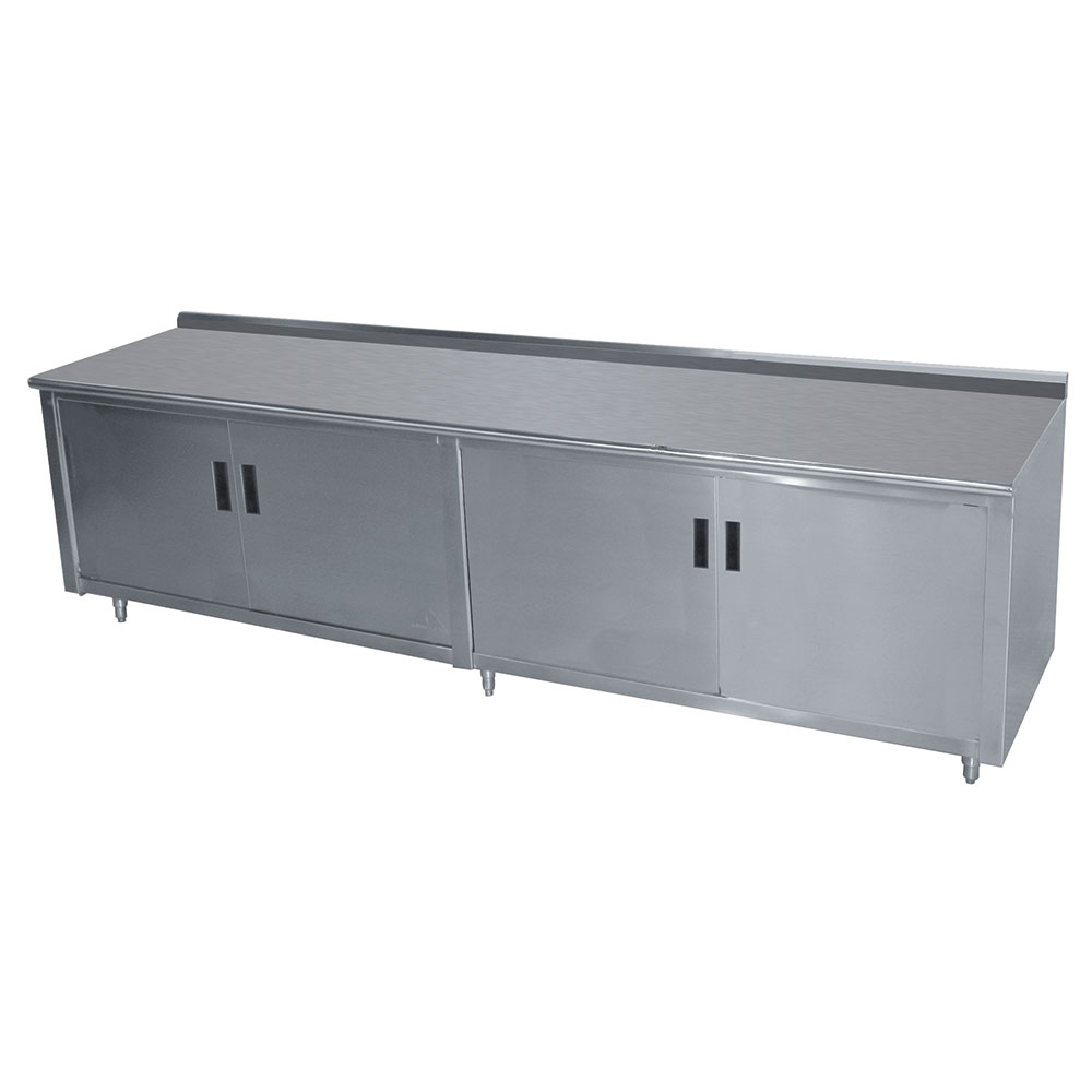 "Advance Tabco HK-SS-249M 108"" Enclosed Work Table w/ Swing Doors & Midshelf, 5"" Backsplash, 24""D"