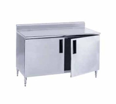 Advance Tabco HF-SS-365M Work Table w/ Doors 36 x 60 in 14/304 SS Top 1.5 in Backsplash Midshelf Restaurant Supply