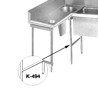 Advance Tabco K-494 Leg, Welded, Stainless Steel, Assembly With Metal Bullet Feet