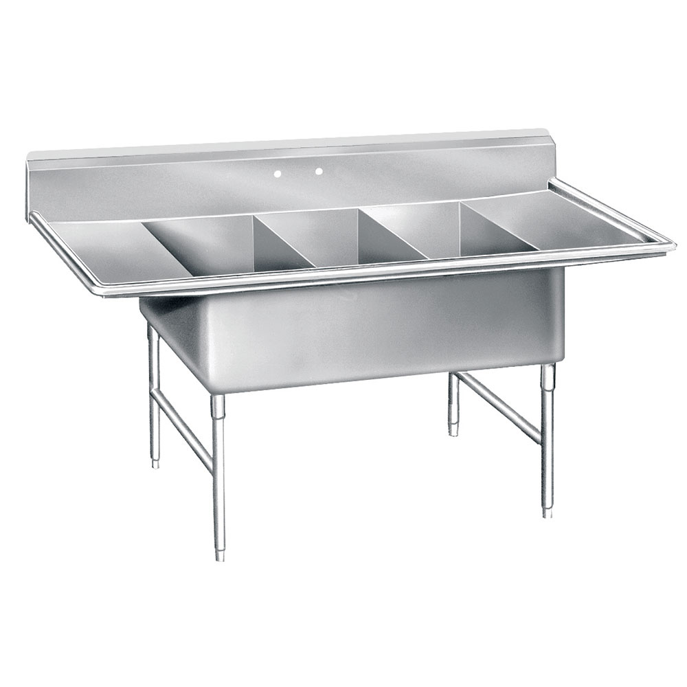 """Advance Tabco K7-3-3024-24RL 138"""" 3-Compartment Sink w/ 30""""L x 24""""W Bowl, 14"""" Deep"""