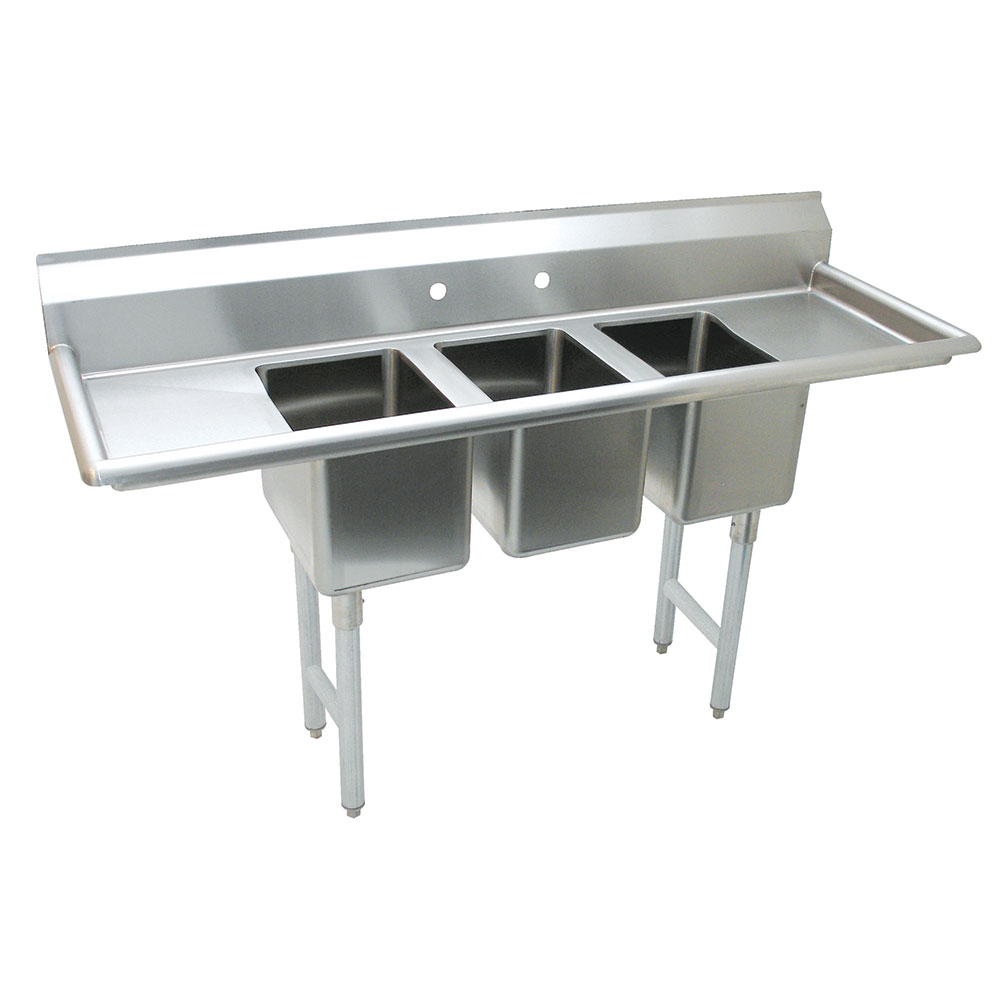 "Advance Tabco K7-CS-21 58"" 3-Compartment Sink w/ 10""L x 14""W Bowl, 10"" Deep"