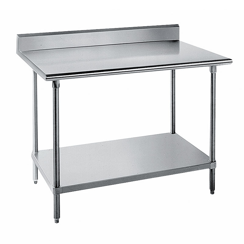 "Advance Tabco KAG-307 84"" 16-ga Work Table w/ Undershelf & 430-Series Stainless Top, 5"" Backsplash"