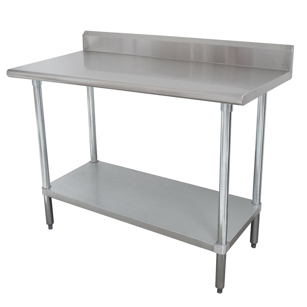 "Advance Tabco KLAG-247 84"" 16-ga Work Table w/ Undershelf & 430-Series Stainless Top, 5"" Backsplash"