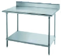 "Advance Tabco KLAG-248 96"" 16-ga Work Table w/ Undershelf & 430-Series Stainless Top, 5"" Backsplash"