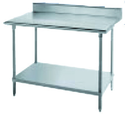 "Advance Tabco KLAG-244 48"" 16-ga Work Table w/ Undershelf & 430-Series Stainless Top, 5"" Backsplash"