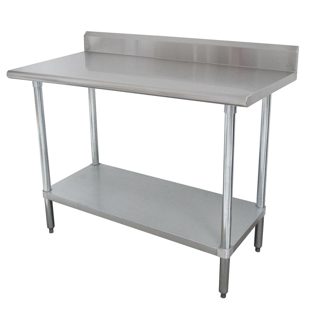 "Advance Tabco KLAG-307 84"" 16-ga Work Table w/ Undershelf & 430-Series Stainless Top, 5"" Backsplash"