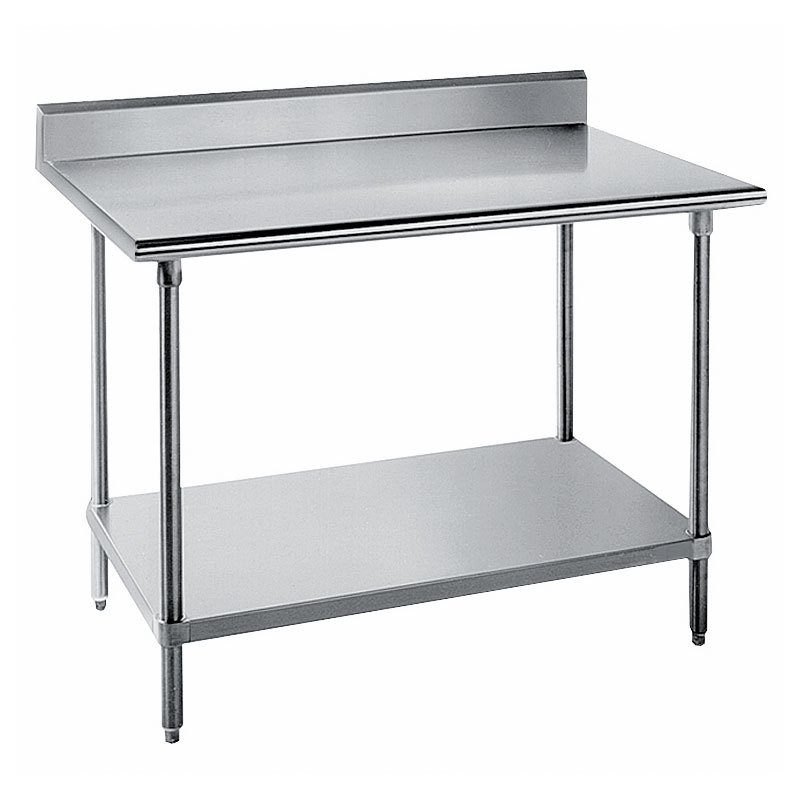 "Advance Tabco KLG-243 36"" 14-ga Work Table w/ Undershelf & 304-Series Stainless Top, 5"" Backsplash"