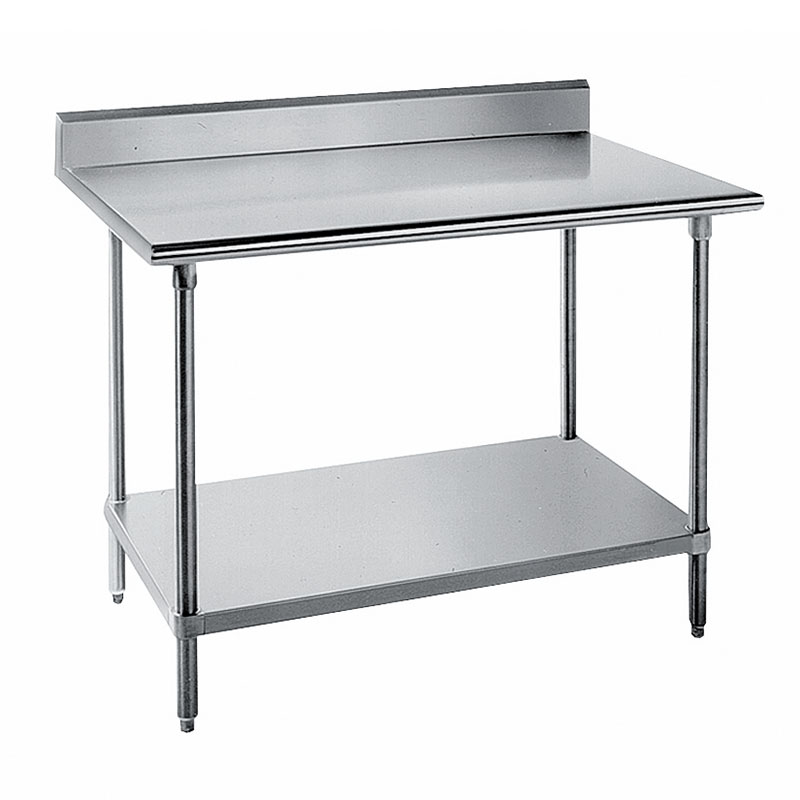 "Advance Tabco KLG-3011 132"" 14-ga Work Table w/ Undershelf & 304-Series Stainless Top, 5"" Backsplash"