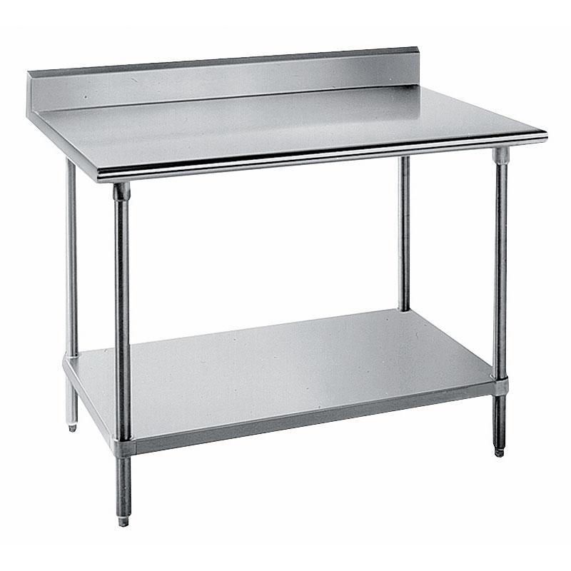 "Advance Tabco KLG-306 72"" 14-ga Work Table w/ Undershelf & 304-Series Stainless Top, 5"" Backsplash"