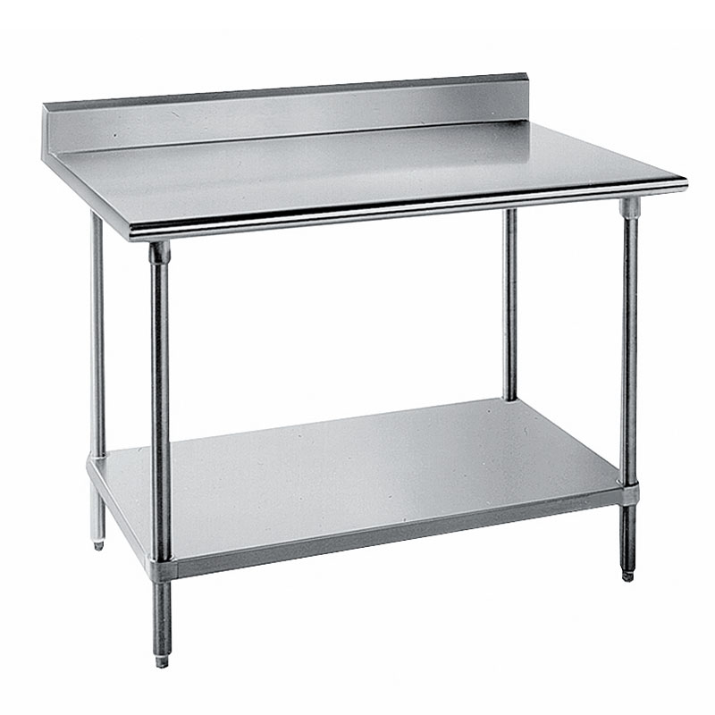 "Advance Tabco KMS-308 96"" 16-ga Work Table w/ Undershelf & 304-Series Stainless Top, 5"" Backsplash"