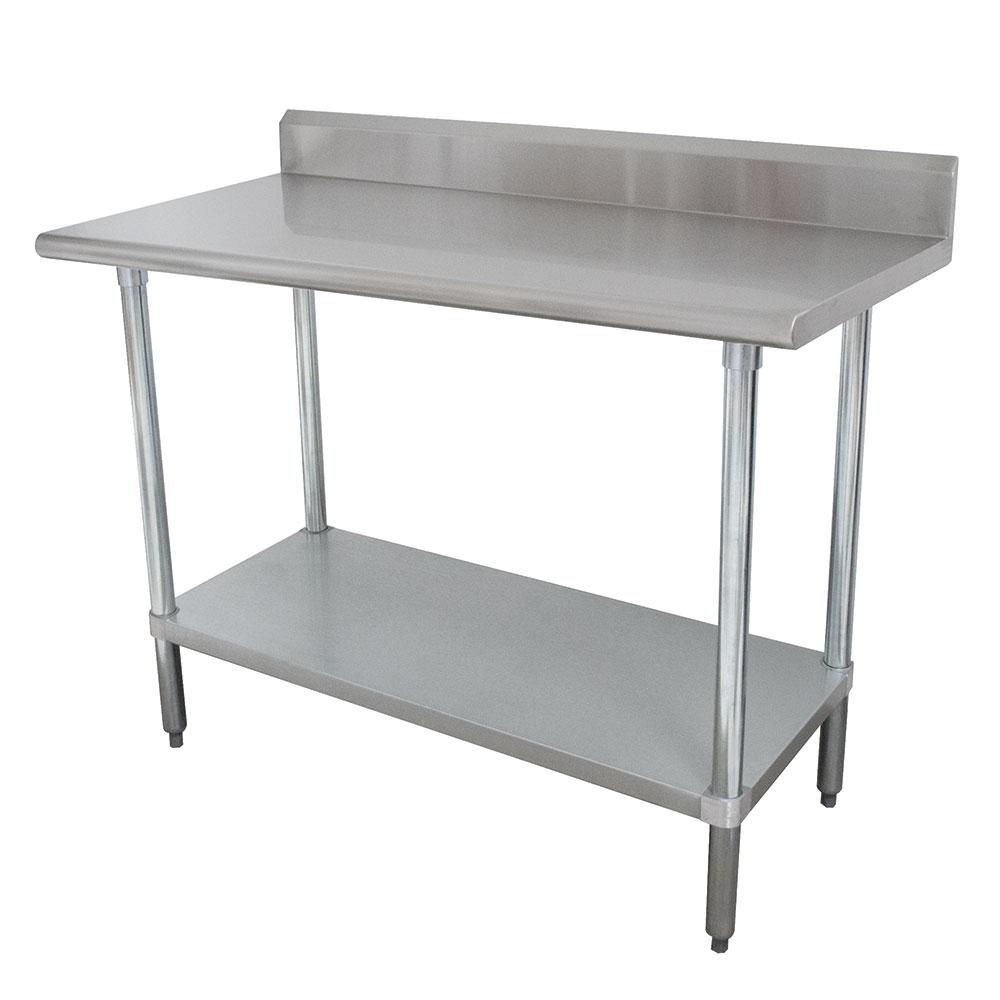 """Advance Tabco KMSLAG-244 48"""" 16-ga Work Table w/ Undershelf & 304-Series Stainless Top, 5"""" Backsplash"""