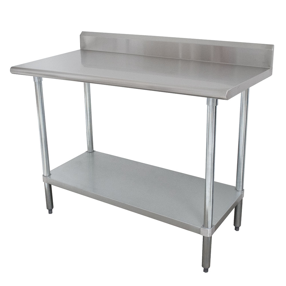 """Advance Tabco KMSLAG-246 72"""" 16-ga Work Table w/ Undershelf & 304-Series Stainless Top, 5"""" Backsplash"""