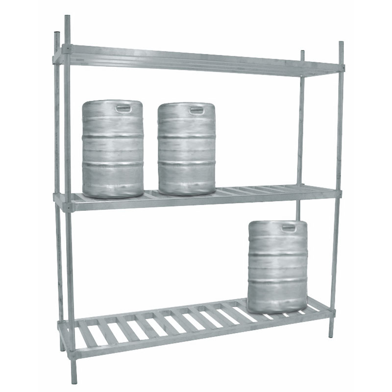 "Advance Tabco KR-60 Three-Level 6 Keg Rack, 60""L x 20""D x 76""H"