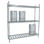 "Advance Tabco KR-93 93"" Aluminum Keg Rack - 2-Shelves, Holds 10-Kegs"