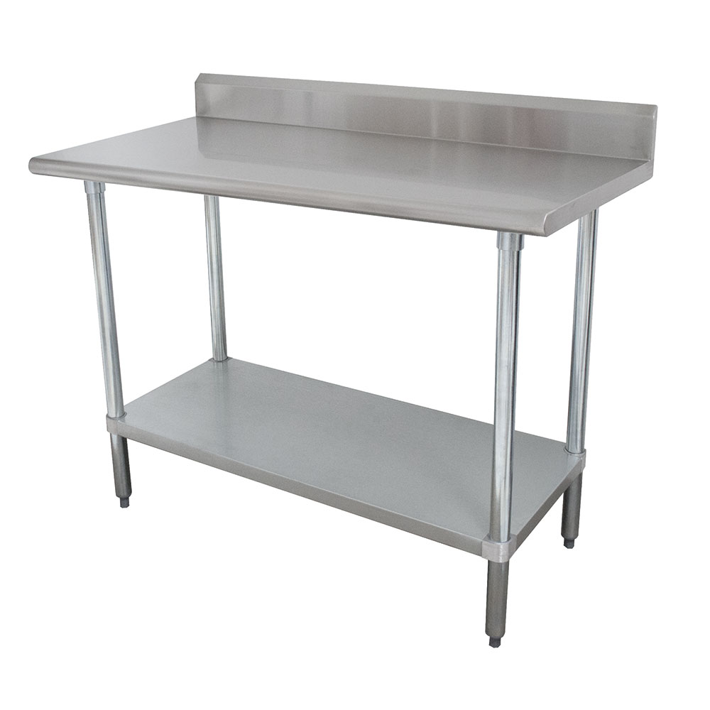"Advance Tabco KSLAG-248 96"" 16-ga Work Table w/ Undershelf & 430-Series Stainless Top, 5"" Backsplash"