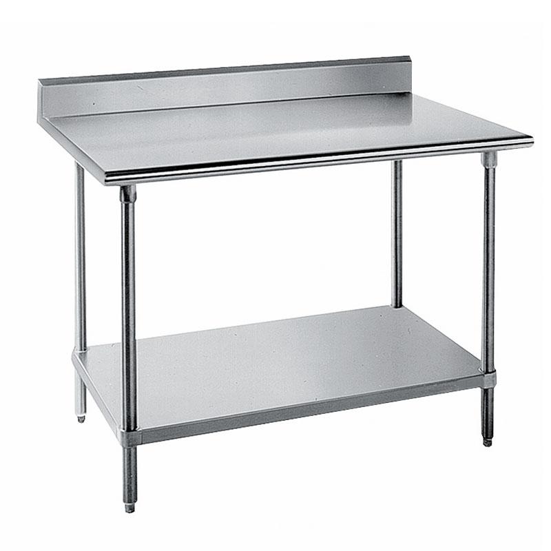 "Advance Tabco KSS-248 96"" 14-ga Work Table w/ Undershelf & 304-Series Stainless Top, 5"" Backsplash"