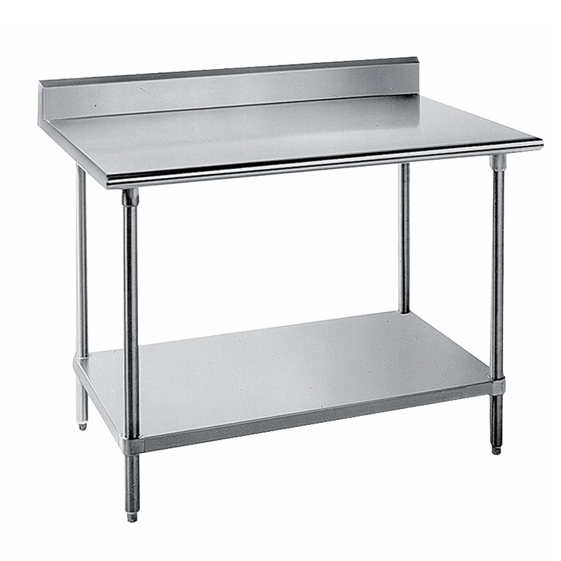 "Advance Tabco KSS-249 108"" 14-ga Work Table w/ Undershelf & 304-Series Stainless Top, 5"" Backsplash"