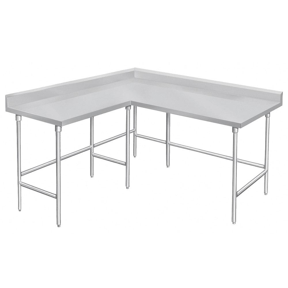 "Advance Tabco KTMS-2412 144"" L Shape Work Table - 5"" Backsplash, 24"" W, 14-ga 304 Stainless"