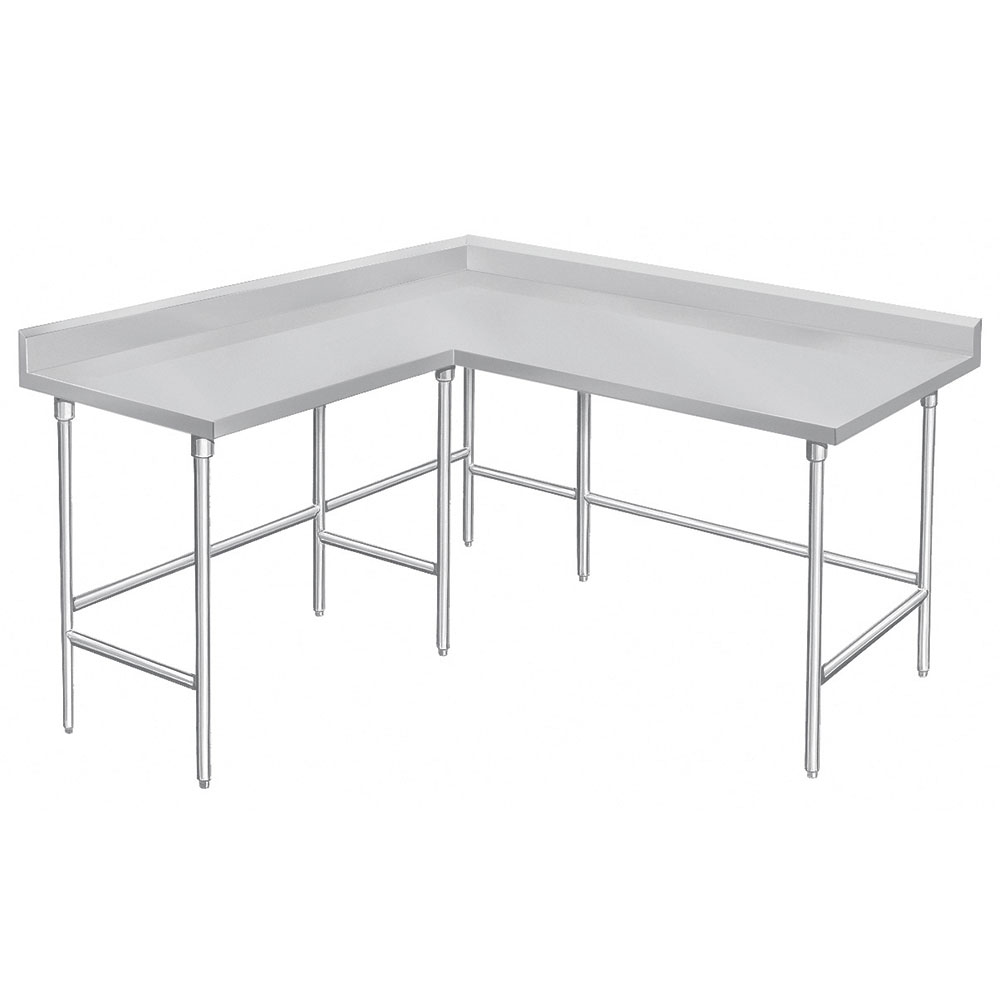 "Advance Tabco KTMS-248 96"" Corner Work Table - 24""D, 5"" Backsplash, 14-ga 304-Series Stainless"