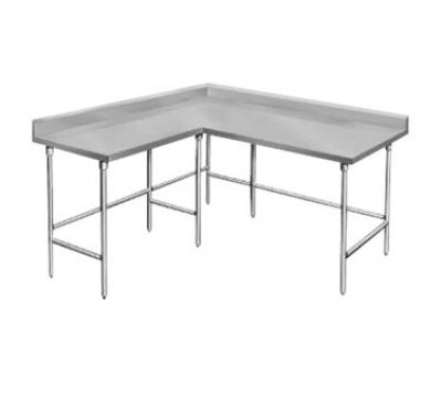 Advance Tabco KTMS-245 Work Table 24 in W L Shape 5 in Splash 16 Gauge 304 SS Top 60 in L 1 Side Restaurant Supply