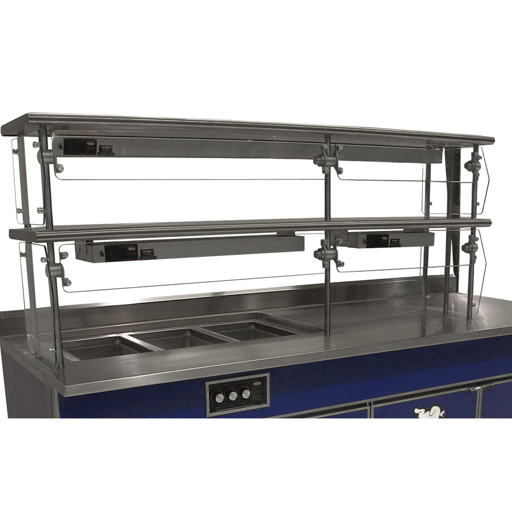"Advance Tabco NDSG-18-144 Self Service Food Shield - 2-Tier, 18x144x26"", Stainless Top Shelf"