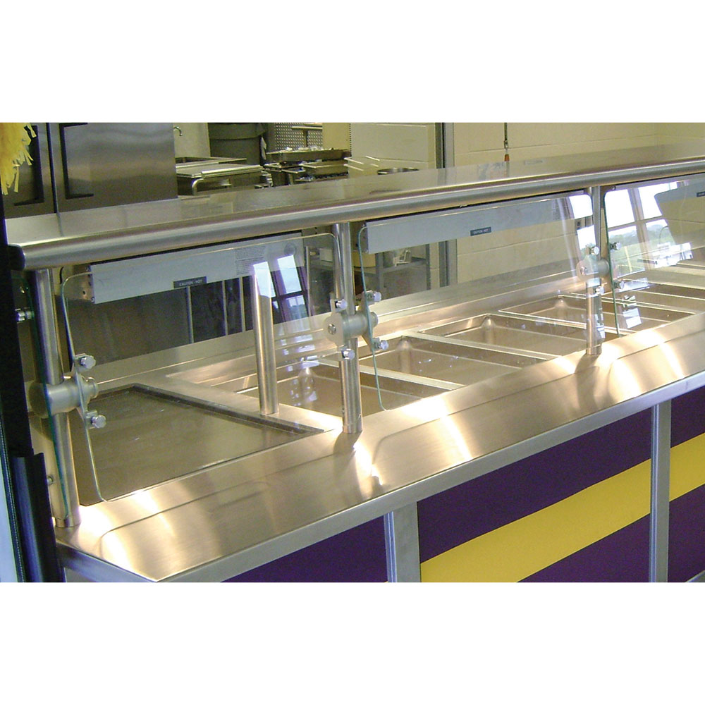 "Advance Tabco NSGC-18-132 Cafeteria Style Food Shield - 18x132x18"", Stainless Top Shelf"