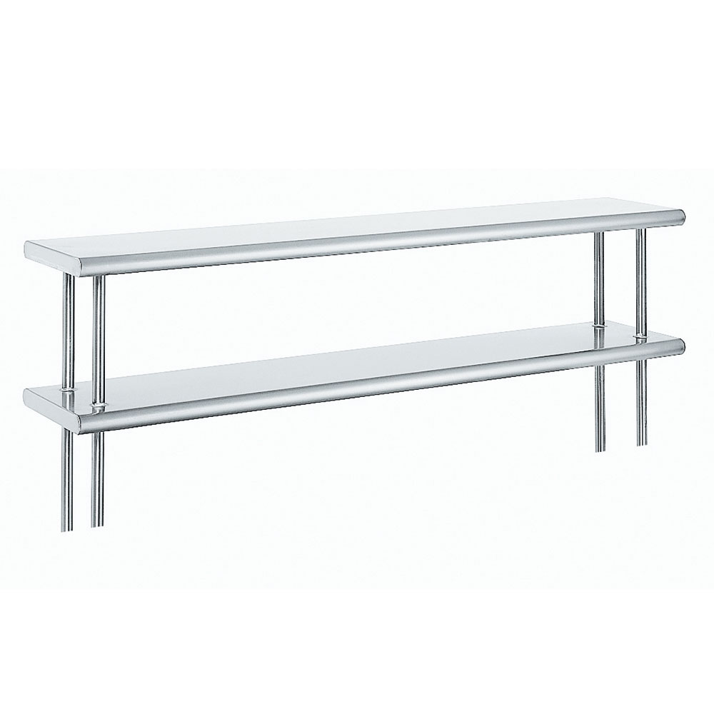 "Advance Tabco ODS-12-48R 48"" Old Style Table Mount Shelf - 2-Deck, Rear Turn Up, 12"" W, 18-ga 430-Stainless"