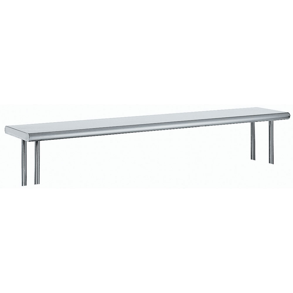"""Advance Tabco OTS-15-120R 120"""" Old Style Table Mount Shelf - 1-Deck, Rear Turn Up, 15"""" W, 18-ga 430-Stainless"""