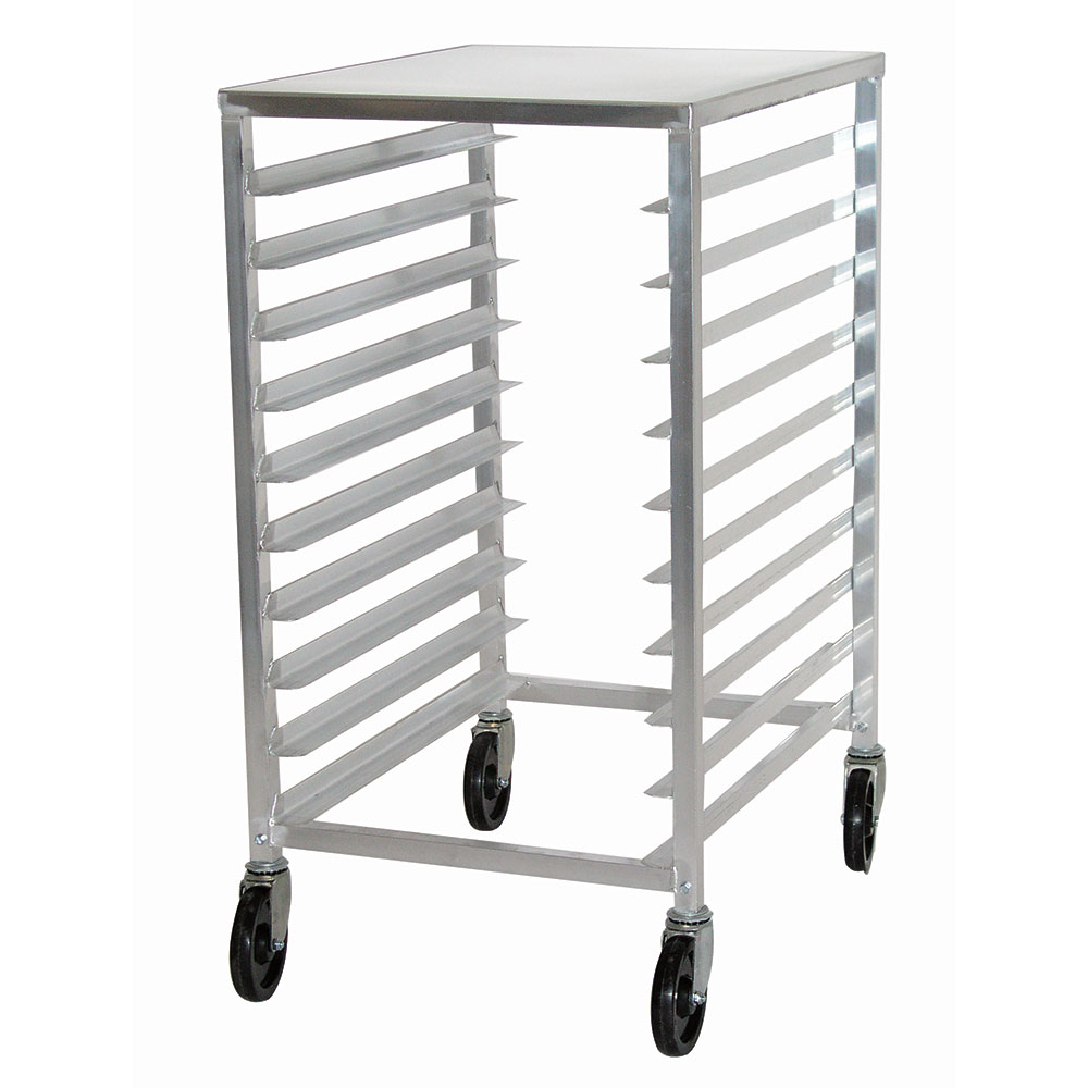 "Advance Tabco PR10-3WT Mobile Pan Rack - Holds (10) 18x26"" Pans, Intermediate Height, Aluminum Top"