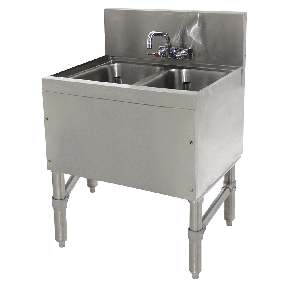 Advance Tabco PRB1922C 2-Compartment Bar Sink w/ Open Base & Splash Mount Faucet