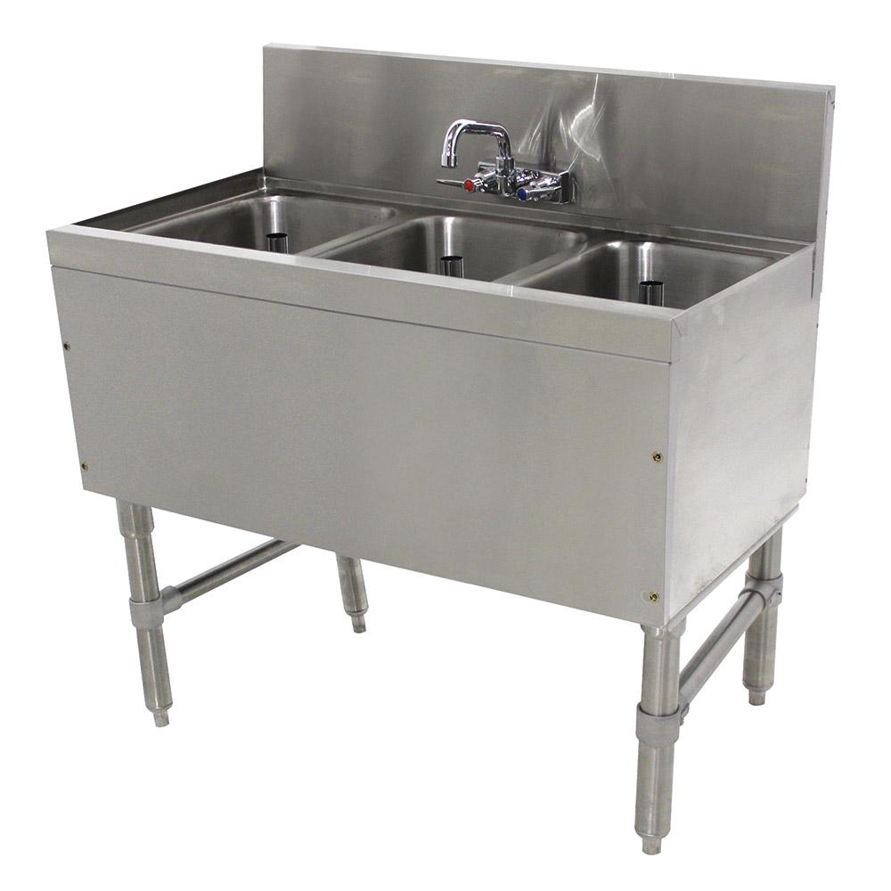 """Advance Tabco PRB-19-33C 36"""" 3-Compartment Sink w/ 10""""L x 14""""W Bowl, 10"""" Deep"""