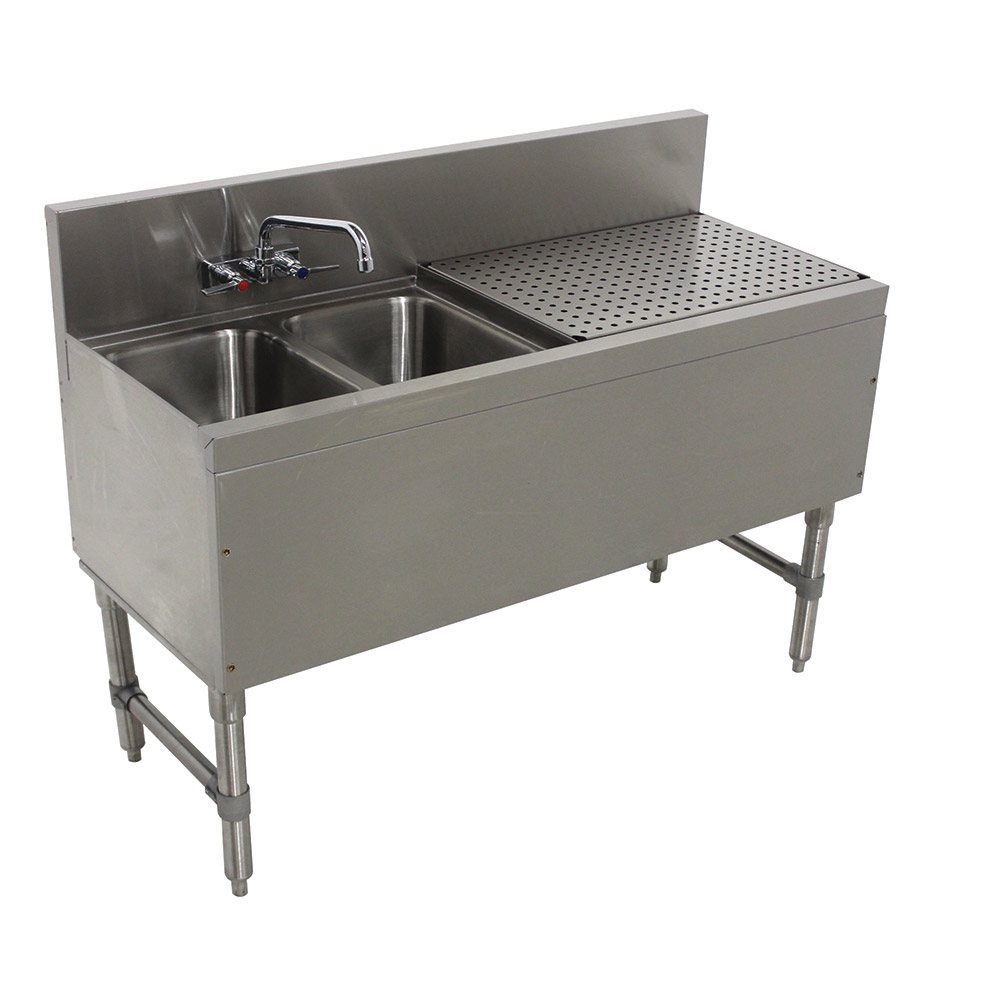 "Advance Tabco PRB-19-42L 48"" 2-Compartment Sink w/ 10""L x 14""W Bowl, 10"" Deep"