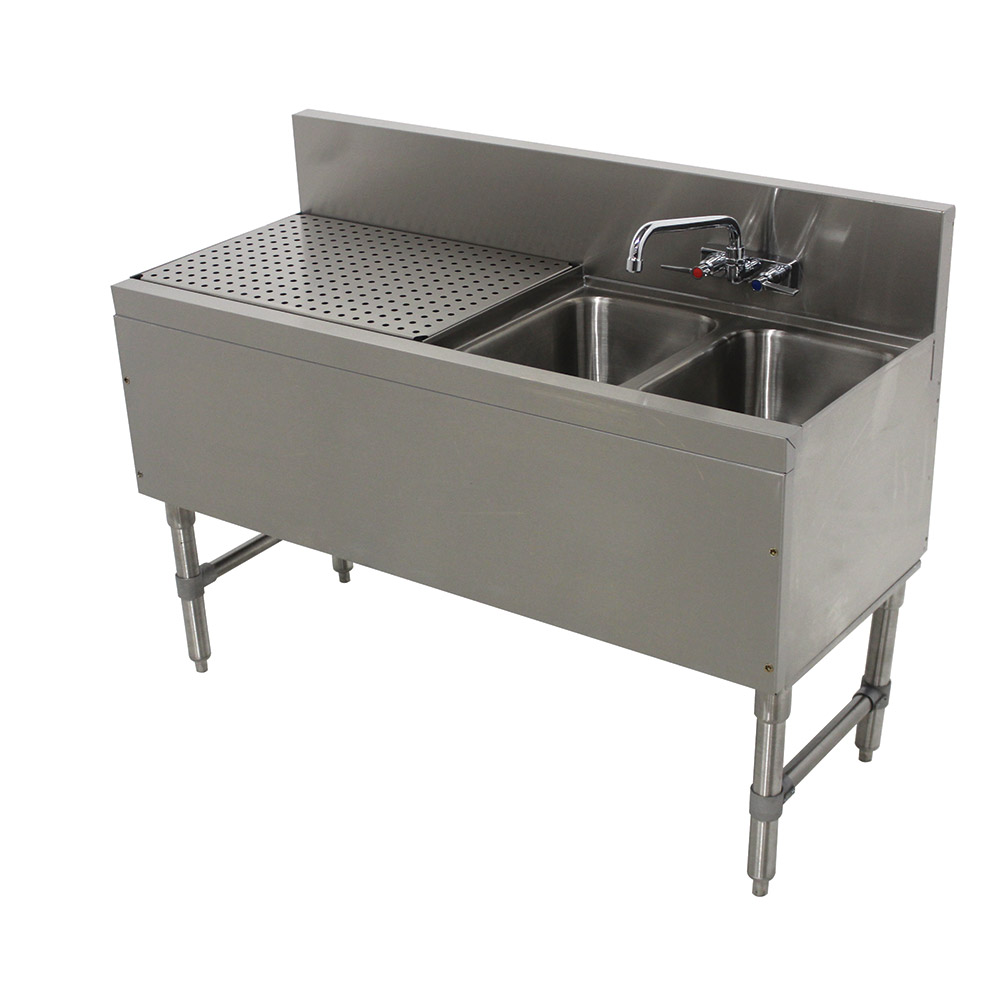"Advance Tabco PRB-19-42R 48"" 2-Compartment Sink w/ 10""L x 14""W Bowl, 10"" Deep"