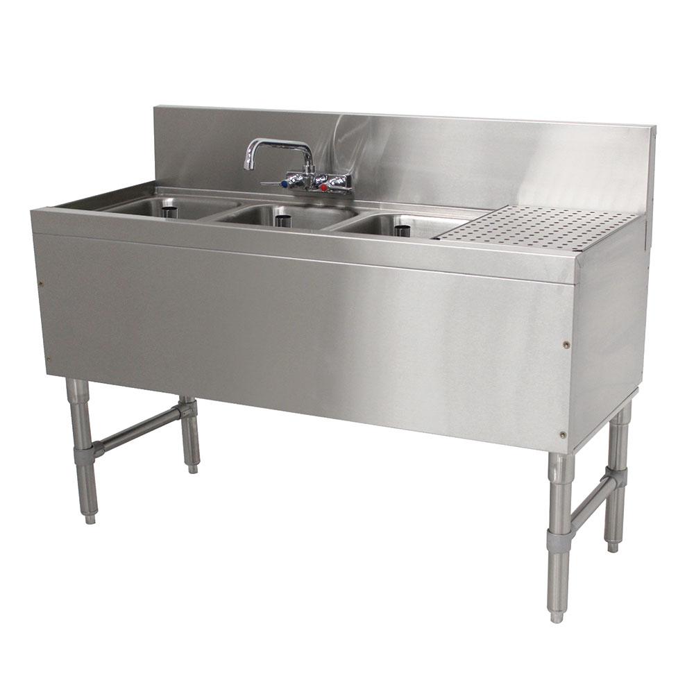 """Advance Tabco PRB-19-43L 48"""" 3-Compartment Sink w/ 10""""L x 14""""W Bowl, 10"""" Deep"""