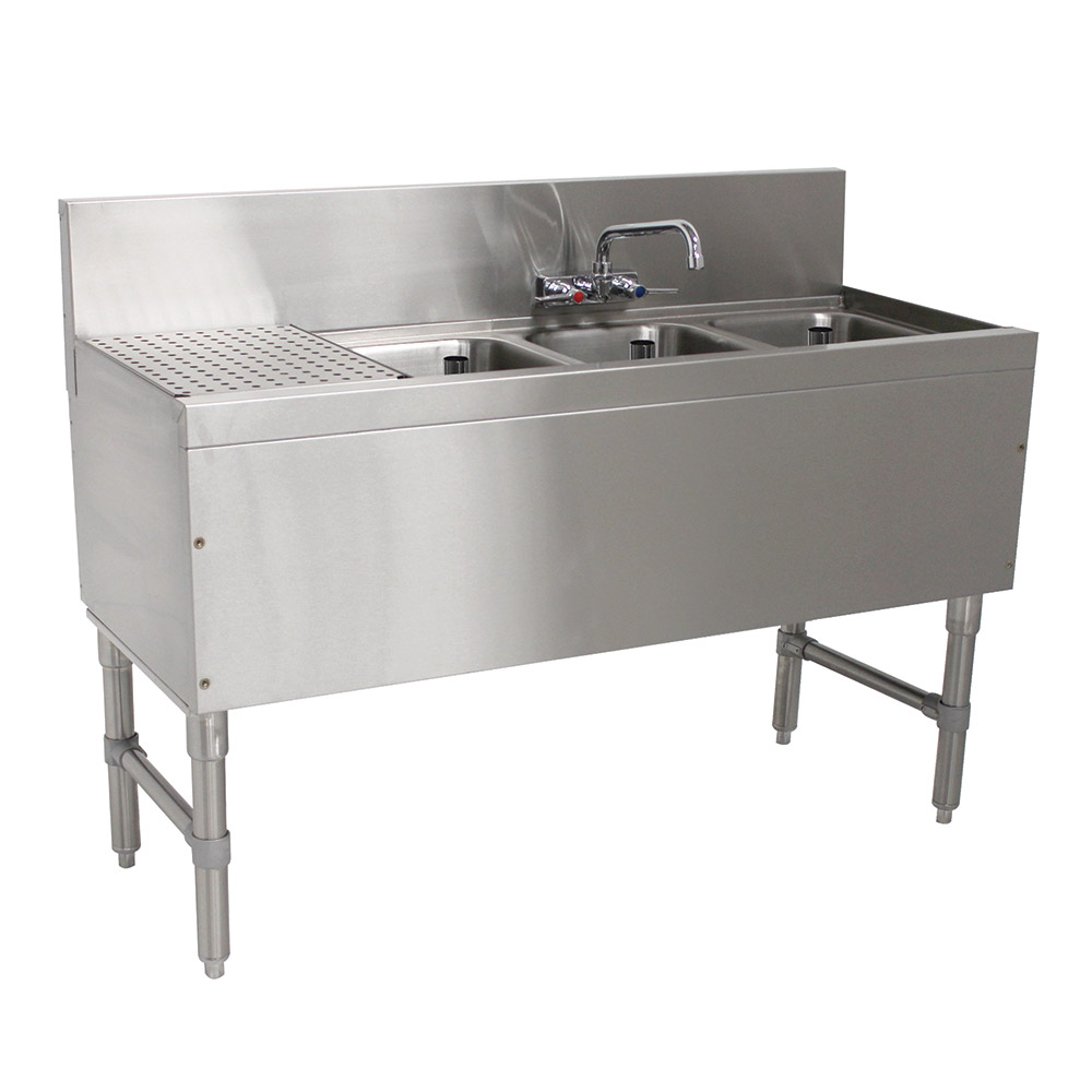 """Advance Tabco PRB-19-43R 48"""" 3-Compartment Sink w/ 10""""L x 14""""W Bowl, 10"""" Deep"""