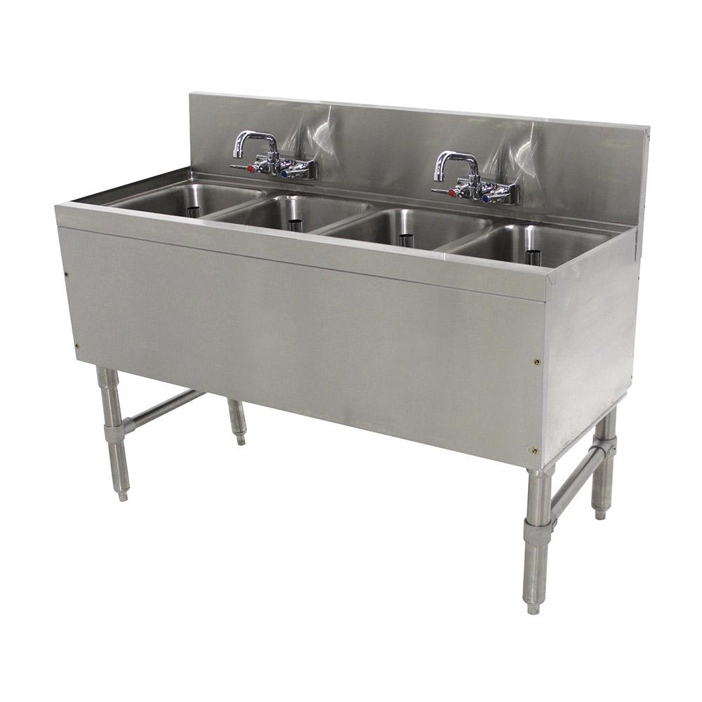 """Advance Tabco PRB-19-44C 48"""" 4-Compartment Sink w/ 10""""L x 14""""W Bowl, 10"""" Deep"""