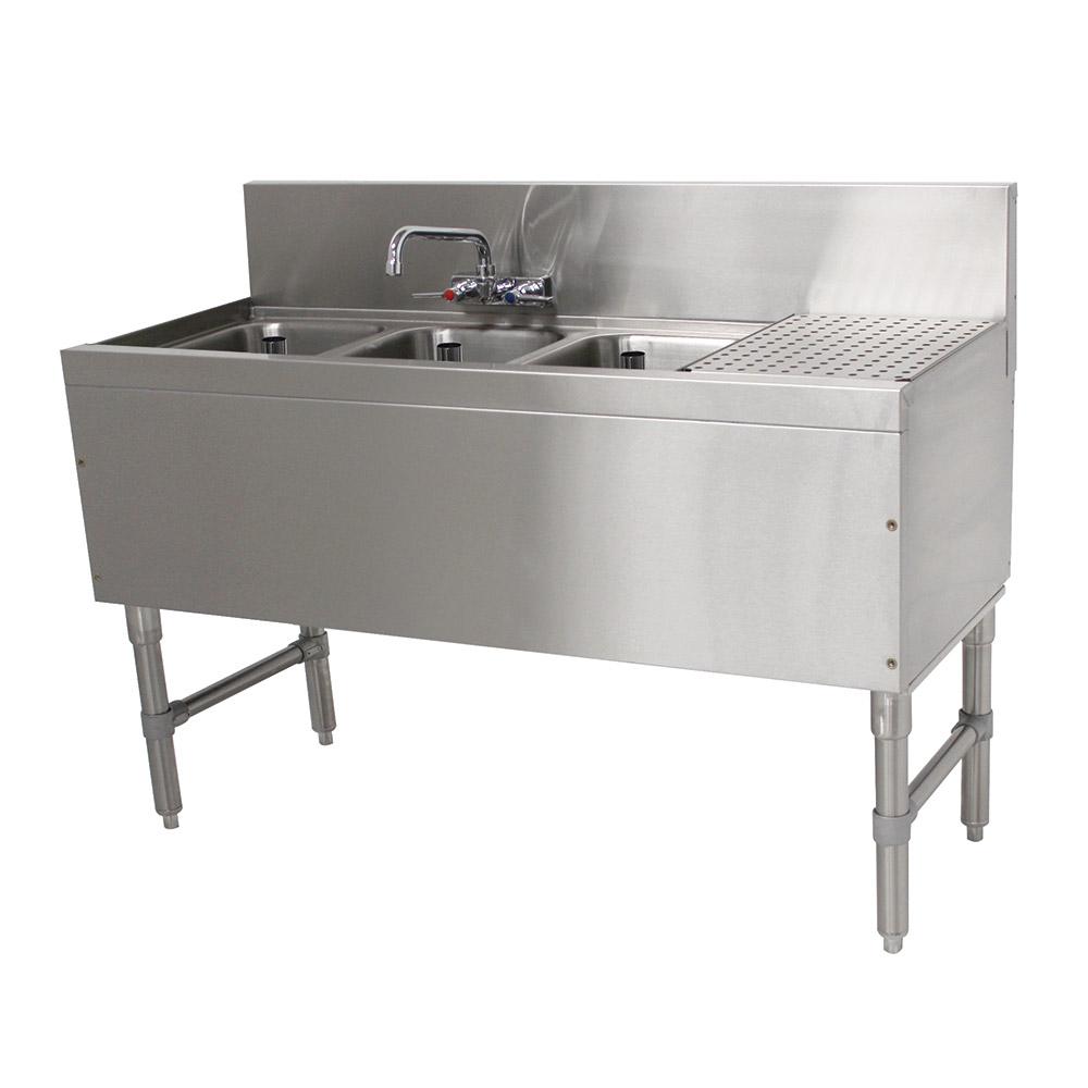 """Advance Tabco PRB-19-53L 60"""" 3-Compartment Sink w/ 10""""L x 14""""W Bowl, 10"""" Deep"""