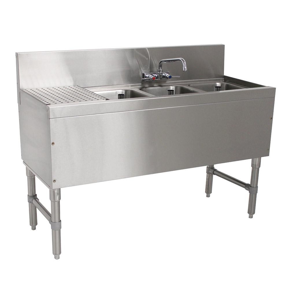 """Advance Tabco PRB-19-53R 60"""" 3-Compartment Sink w/ 10""""L x 14""""W Bowl, 10"""" Deep"""