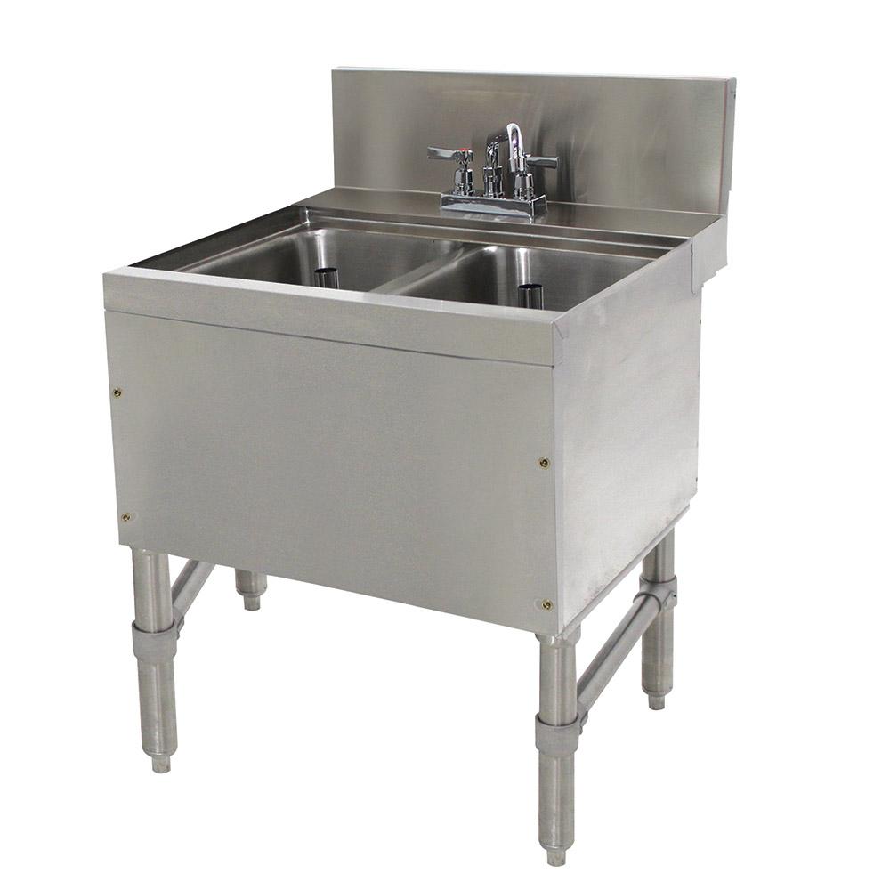 """Advance Tabco PRB-24-22C 24"""" 2-Compartment Sink w/ 10""""L x 14""""W Bowl, 10"""" Deep"""