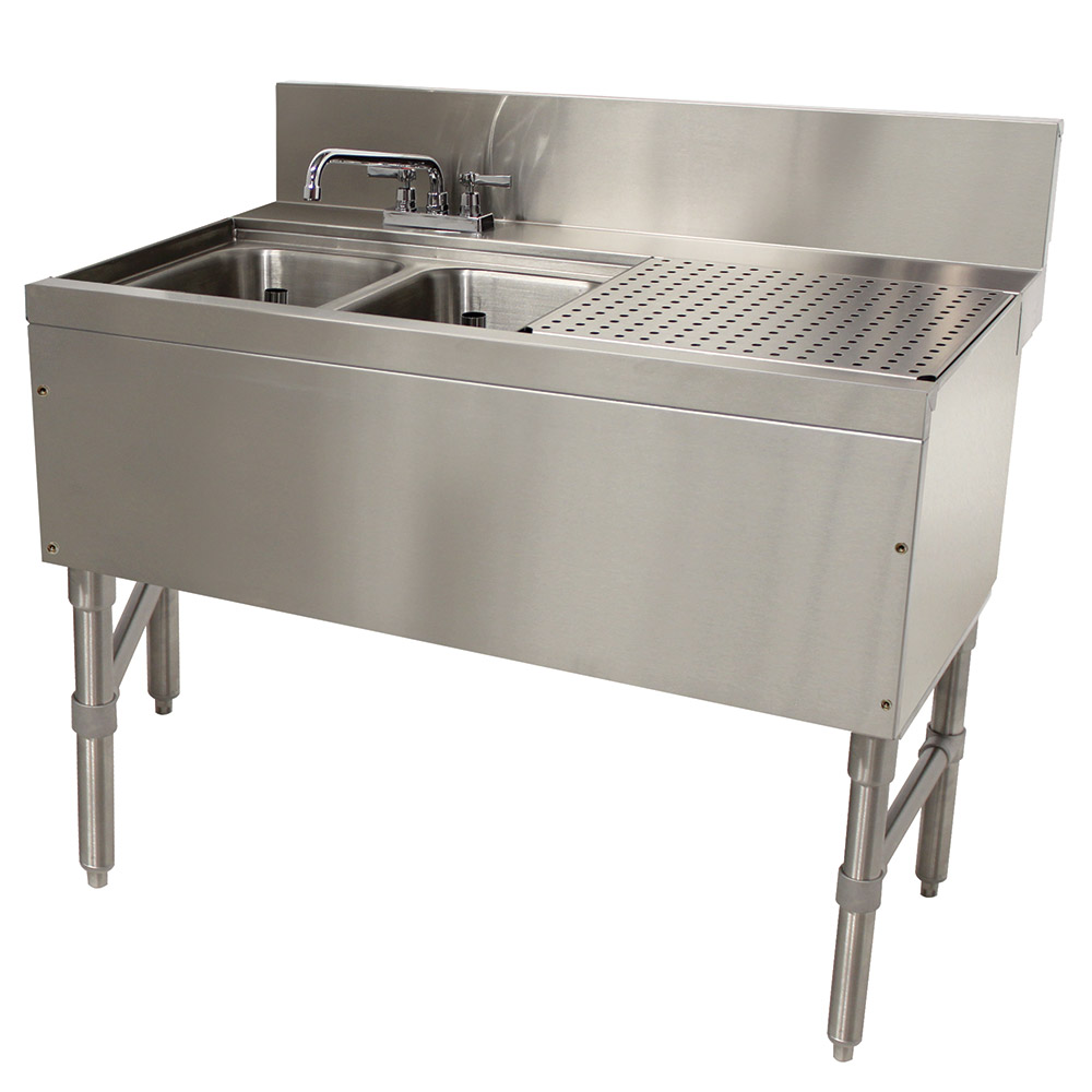 "Advance Tabco PRB-24-32L 36"" 2-Compartment Sink w/ 10""L x 14""W Bowl, 10"" Deep"