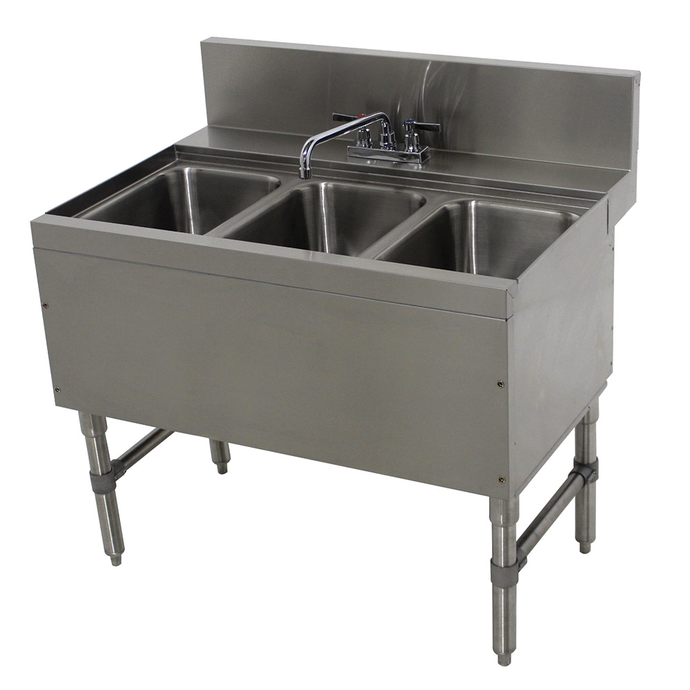 """Advance Tabco PRB-24-33C 36"""" 3-Compartment Sink w/ 10""""L x 14""""W Bowl, 10"""" Deep"""