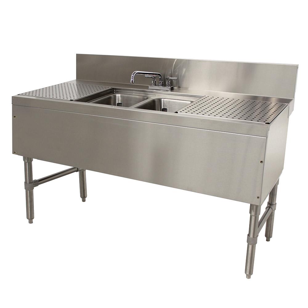 """Advance Tabco PRB-24-42C 48"""" 2-Compartment Sink w/ 10""""L x 14""""W Bowl, 10"""" Deep"""
