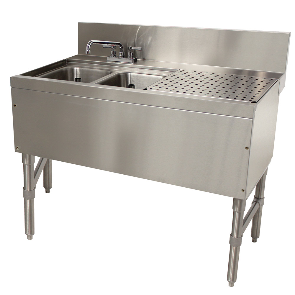 """Advance Tabco PRB2442L 48"""" 2-Compartment Sink w/ 10""""L x 14""""W Bowl, 10"""" Deep"""