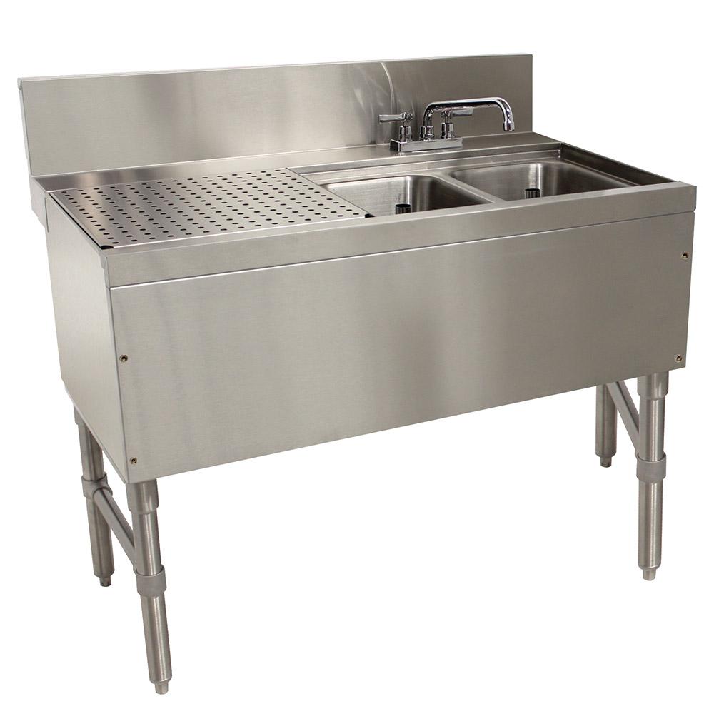 """Advance Tabco PRB-24-42R 48"""" 2-Compartment Sink w/ 10""""L x 14""""W Bowl, 10"""" Deep"""