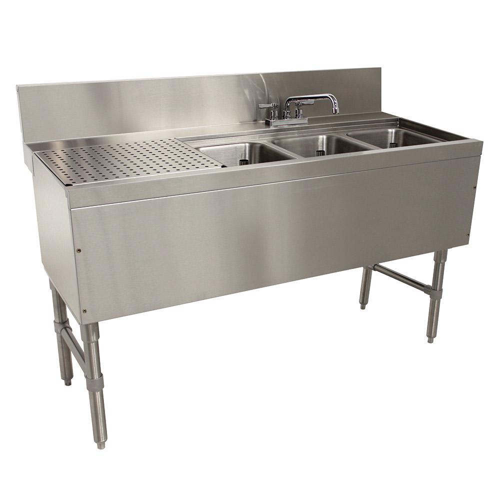"""Advance Tabco PRB-24-43R 48"""" 3-Compartment Sink w/ 10""""L x 14""""W Bowl, 10"""" Deep"""
