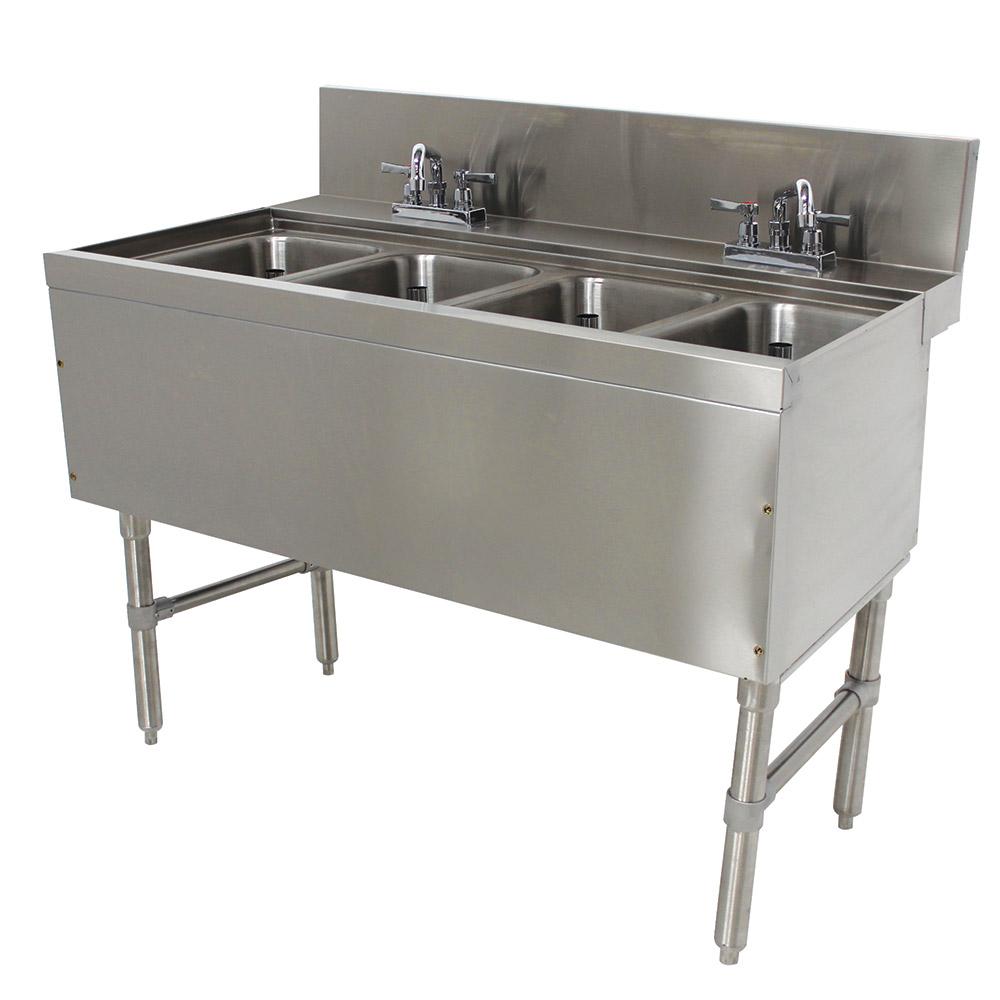 """Advance Tabco PRB-24-44C 48"""" 4-Compartment Sink w/ 10""""L x 14""""W Bowl, 10"""" Deep"""