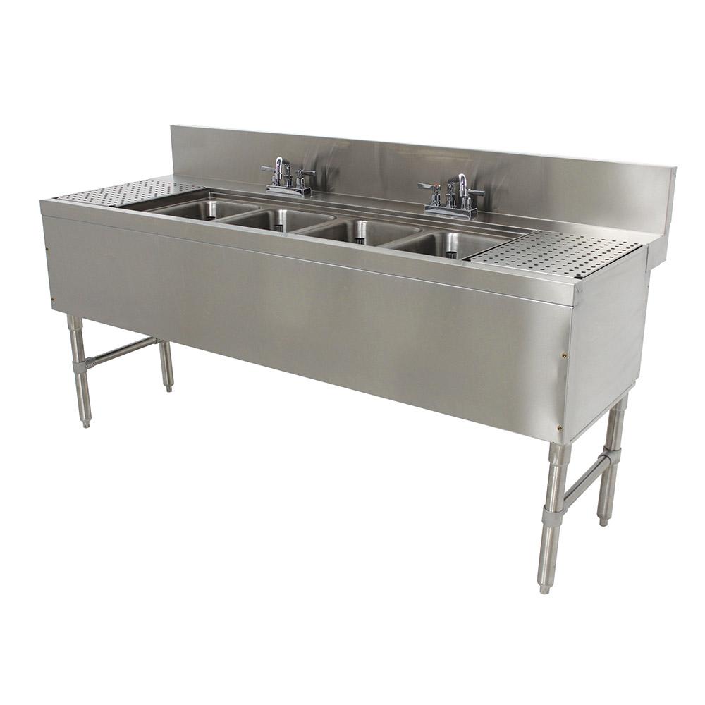 """Advance Tabco PRB-24-64C 72"""" 4-Compartment Sink w/ 10""""L x 14""""W Bowl, 10"""" Deep"""