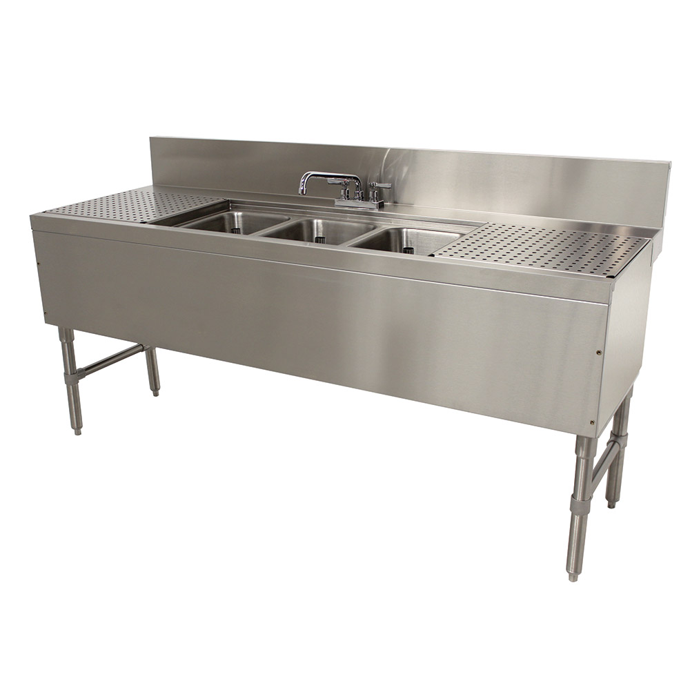 """Advance Tabco PRB2473C 84"""" 3-Compartment Sink w/ 10""""L x 14""""W Bowl, 10"""" Deep"""